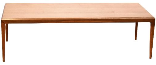 G-Plan; a large 1960s retro teak coffee table with canted edge and square tapering supports,