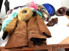 A quantity of vintage clothing to include a c1960s Afghan-style sheepskin jacket with embroidered