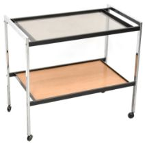 Howard Miller; a 1960s retro teak, chrome and smoked glass two-tier drinks trolley,