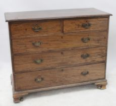 A 19th century mahogany chest of two short over three long graduated drawers with brass swan neck