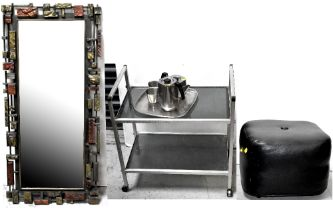 A 1970s/80s brushed aluminium and smoked glass trolley table,