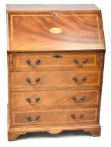 An Edwardian-style reproduction inlaid and cross-banded walnut bureau,