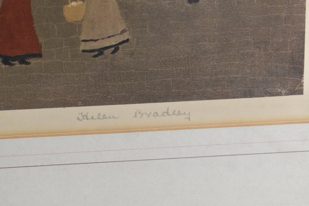 HELEN BRADLEY MBE (1900-1979); signed print, 'Market Day', partial blind stamp lower left, 46 x - Image 3 of 4