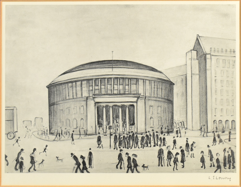 LAURENCE STEPHEN LOWRY RBA RA (1887-1976); limited edition signed print, 'The Reference Library', - Image 2 of 5