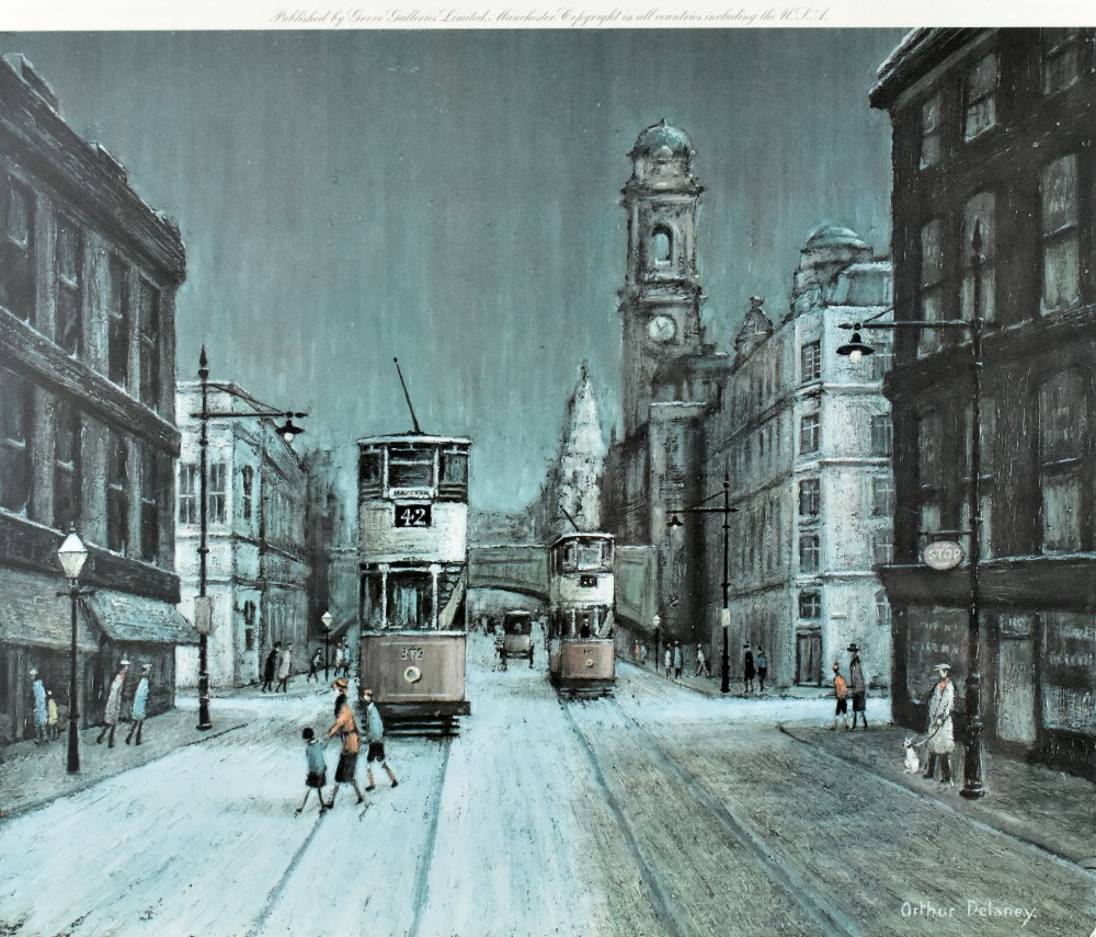 AFTER ARTHUR DELANEY; colour print, Manchester street scene, 39.5 x 47cm, with a pair of 19th - Image 3 of 5