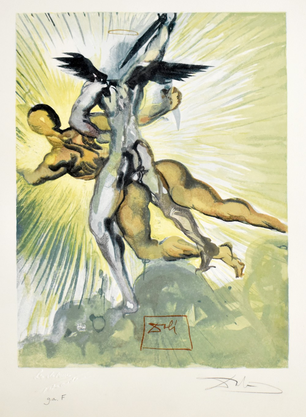 SALVADOR DALI (1904-1989); signed print, 'Guardian Angels of the Valley, Purgatory No.8 from Dante's - Image 2 of 8