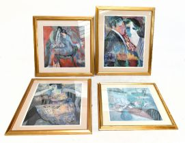BARBARA WOOD; four limited edition prints, figure study and still life of vases on a windowsill,