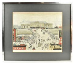 LAURENCE STEPHEN LOWRY RBA RA (1887-1976); pencil signed lithograph print, 'Station Approach', 43