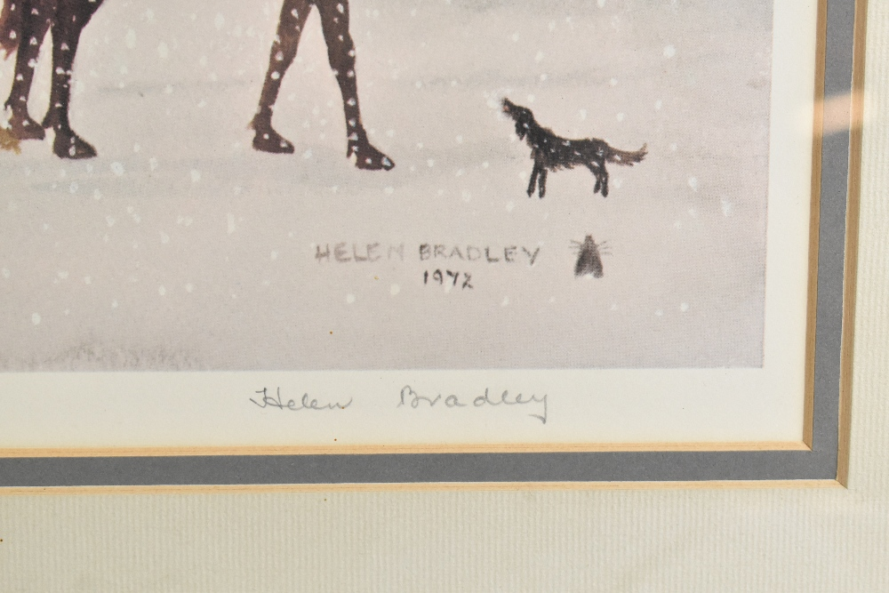 HELEN BRADLEY MBE (1900-1979); signed limited edition print, snowy scene on High Street with - Image 3 of 4