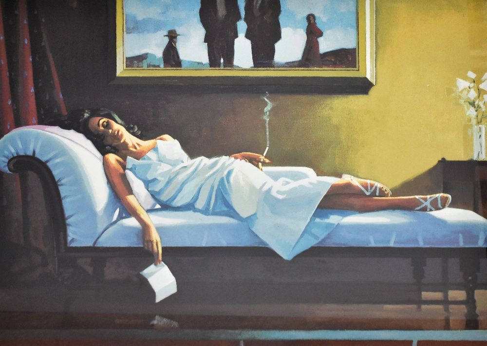 JACK VETTRIANO (Scottish, born 1951); signed limited edition silkscreen, 'The Letter', 180/275, 56 x - Image 2 of 5