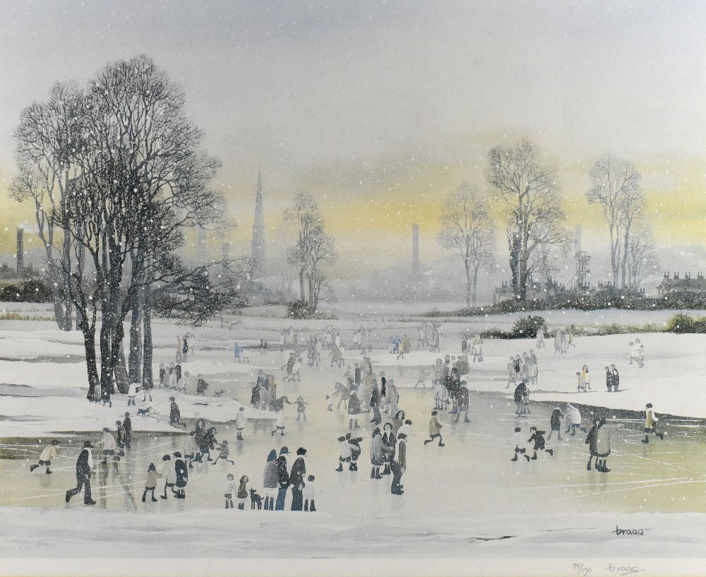 BRIAN SHIELDS BRAAQ (1951-1997); pencil signed limited edition print, Manchester landscape, 78/ - Image 2 of 4
