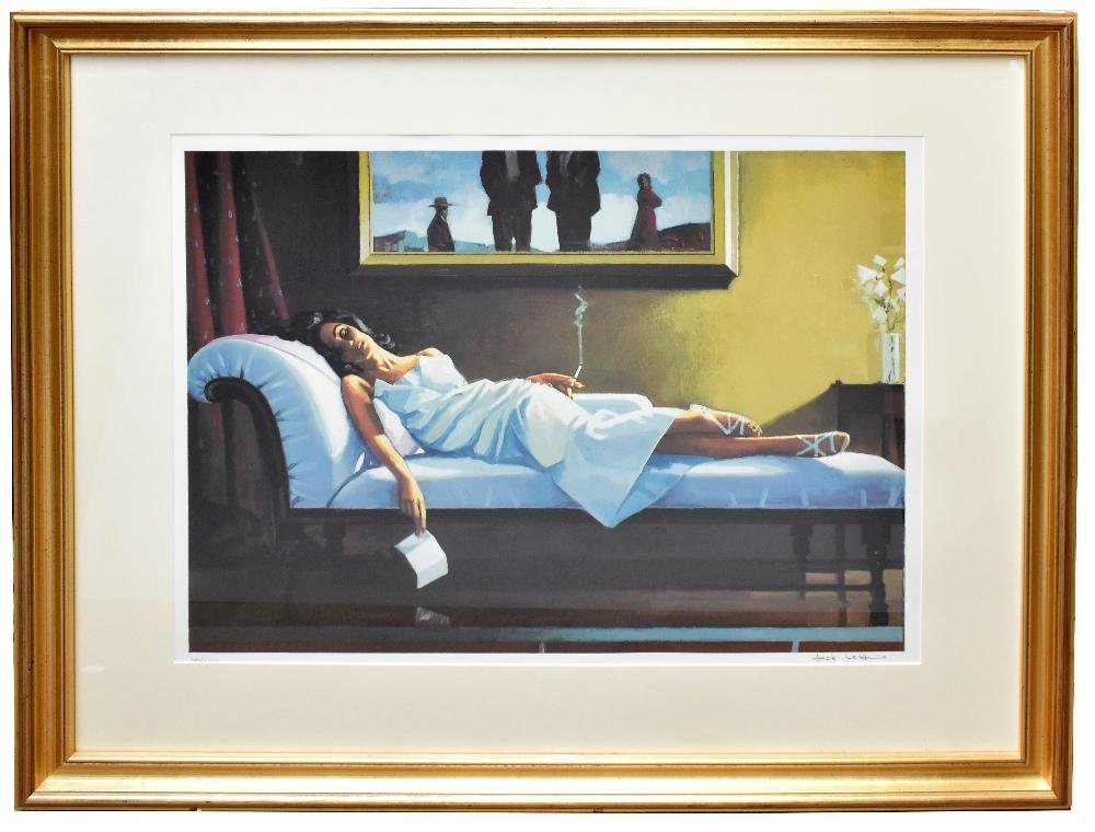 JACK VETTRIANO (Scottish, born 1951); signed limited edition silkscreen, 'The Letter', 180/275, 56 x