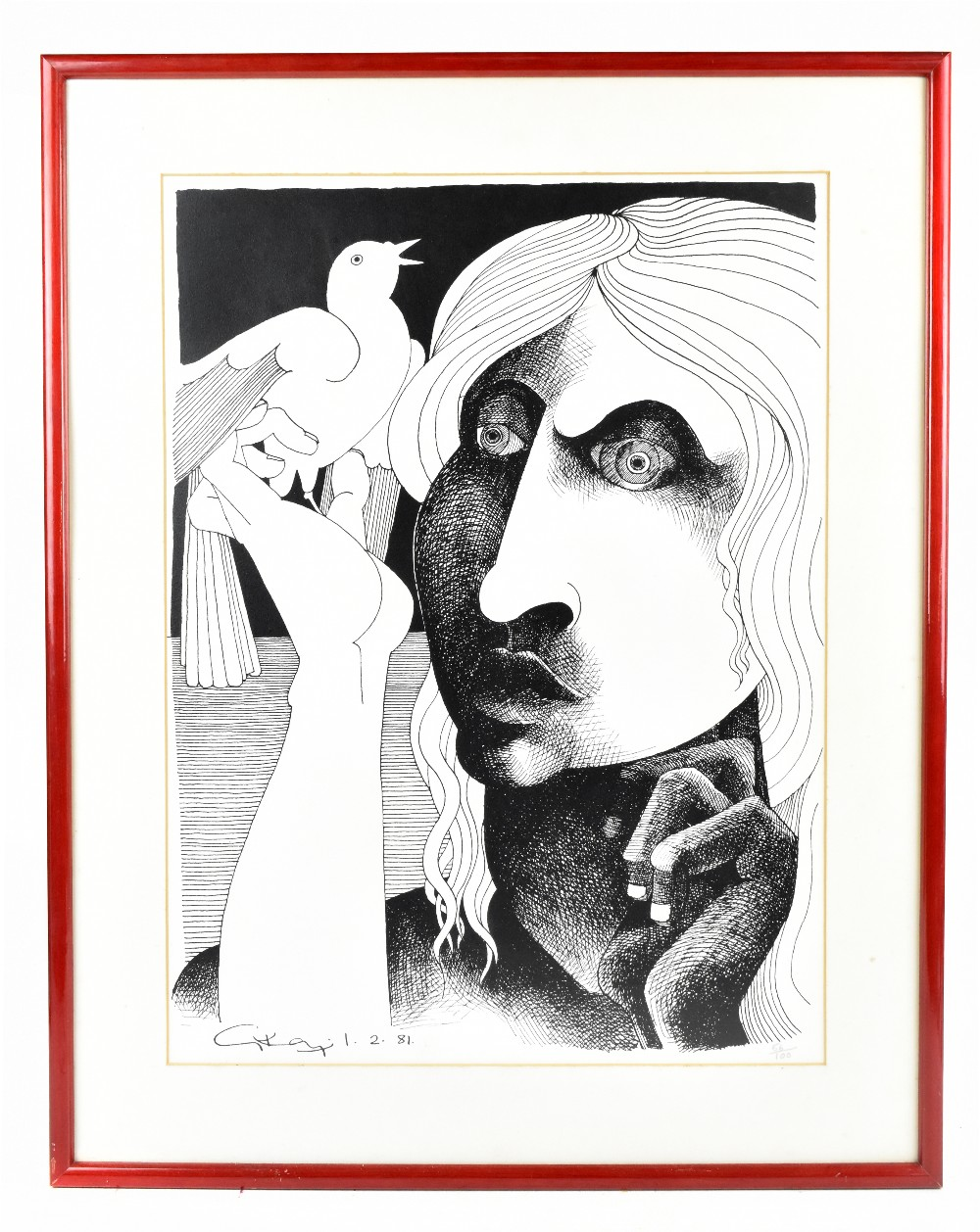 GEOFFREY KEY (Born 1941); limited edition black and white print, 'Girl with Bird', 56/100 in pencil,