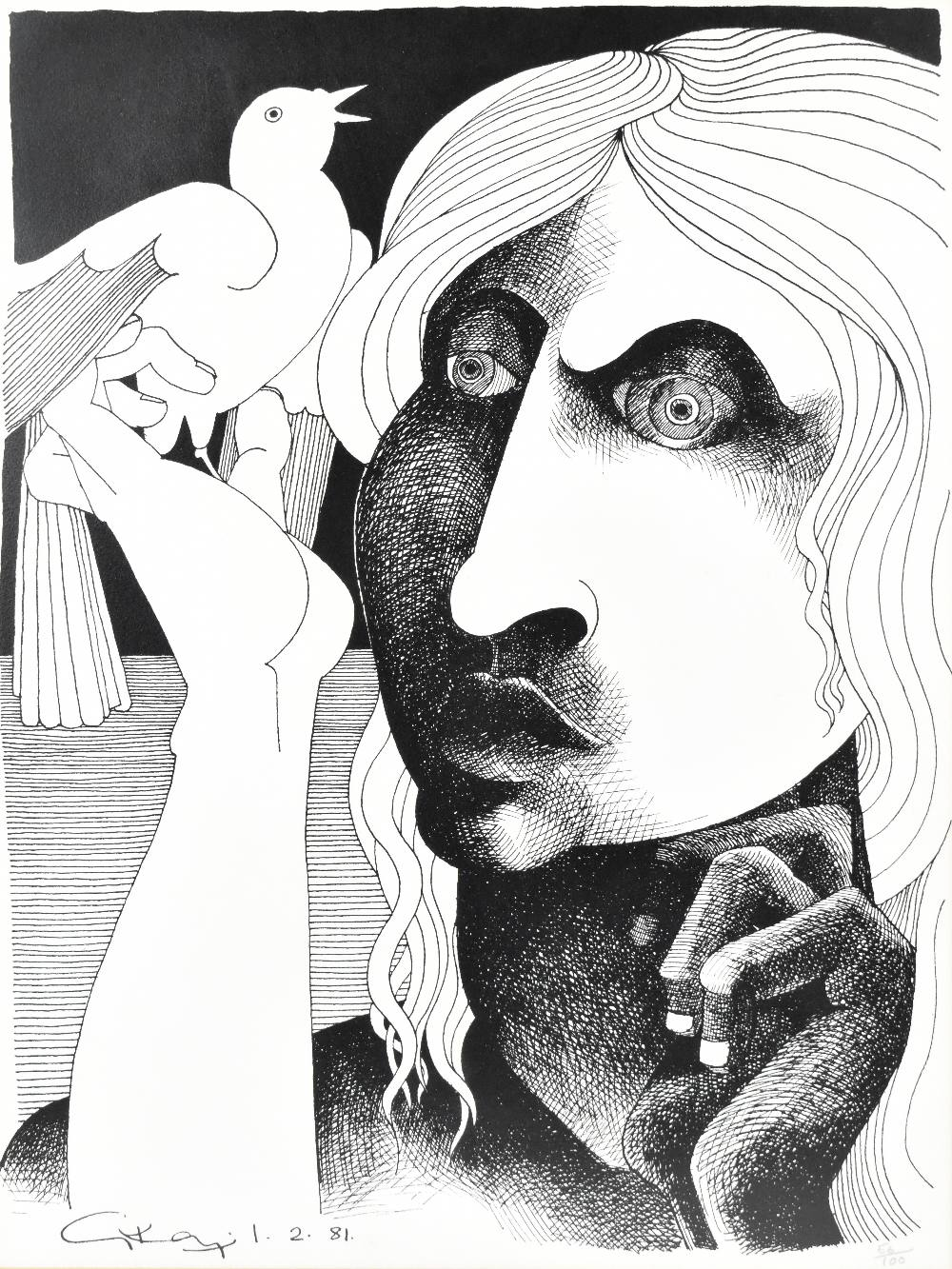 GEOFFREY KEY (Born 1941); limited edition black and white print, 'Girl with Bird', 56/100 in pencil, - Image 2 of 5