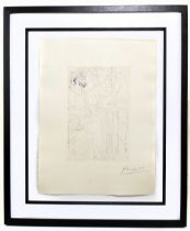 """***WITHDRAWN*** PABLO PICASSO; """"Trois Acteurs"""", signed lower right, 45cm x 34cm, framed and glazed"""