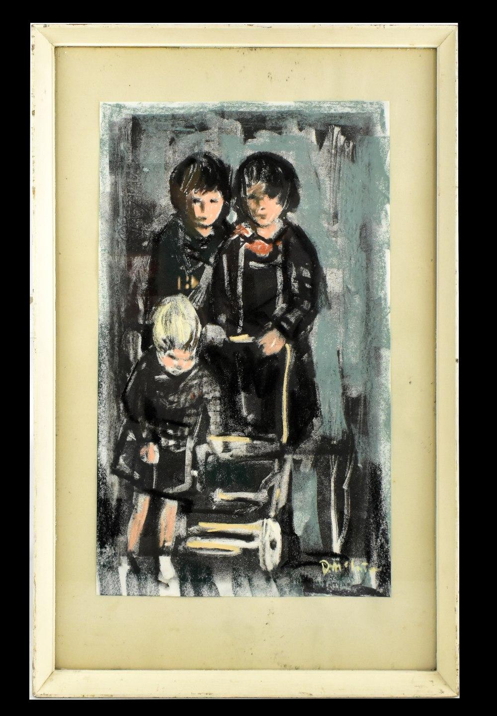 DONALD MCINTYRE (1923-2009); monoprint with pastel highlights, 'Children & Pram', bears letter