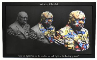 DIRTY HANS (Contemporary British); original colour print on faux canvas, 'Winston Churchill', signed