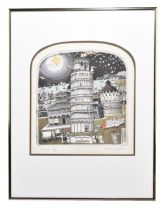 GRAHAM CLARKE (born 1941); pencil signed limited edition etching, 'Italics', 170/400, 30 x 28cm,