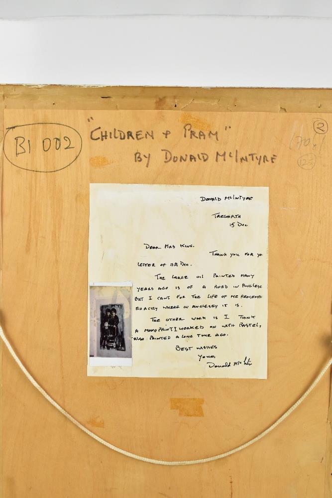 DONALD MCINTYRE (1923-2009); monoprint with pastel highlights, 'Children & Pram', bears letter - Image 5 of 5