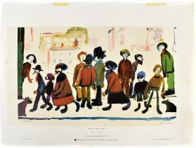 LAURENCE STEPHEN LOWRY RBA RA (1887 - 1976); signed colour print, 'People Standing About', with FATG