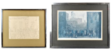 AFTER LAURENCE STEPHEN LOWRY; a limited edition print, figures queuing along a street, with A within