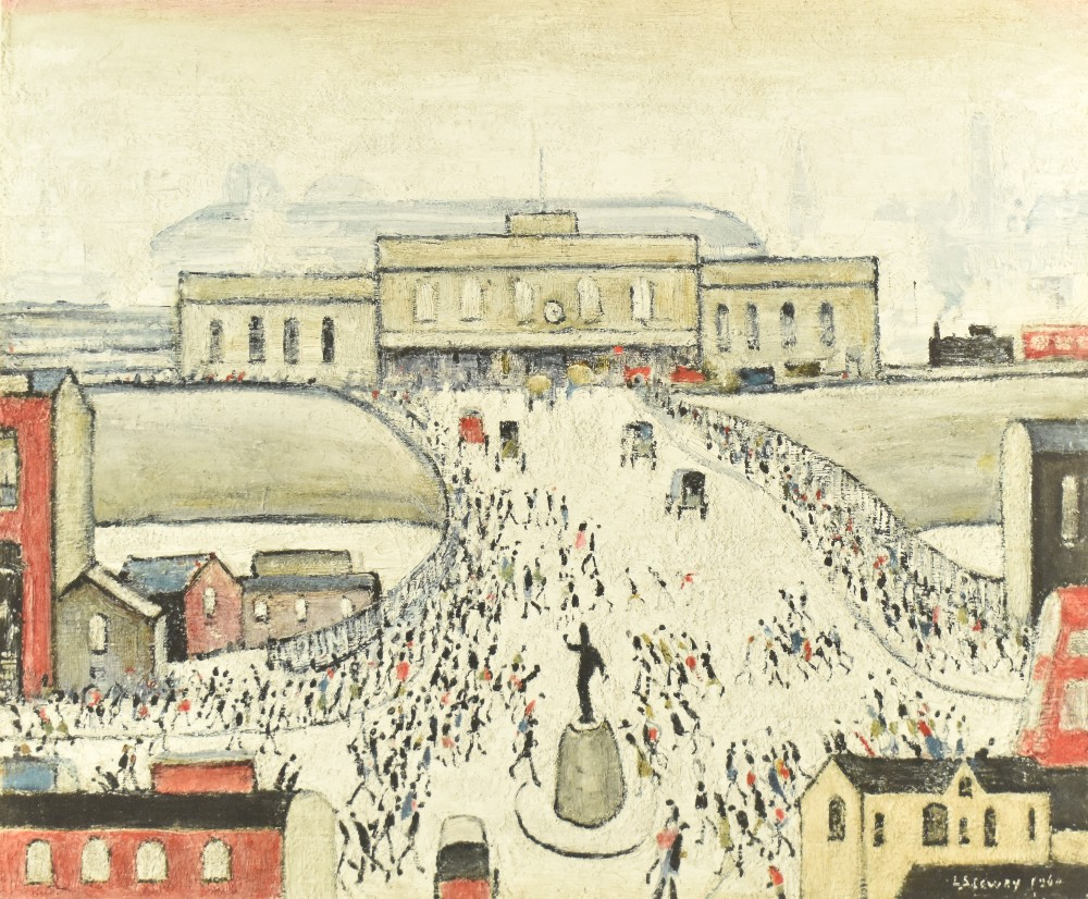 LAURENCE STEPHEN LOWRY RBA RA (1887-1976); pencil signed lithograph print, 'Station Approach', 43 - Image 2 of 5