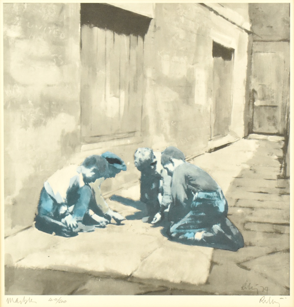 HAROLD FRANCIS RILEY DL DLitt FRCS DFA ATC (born 1934); limited edition signed print, 'Marbles', - Image 2 of 4