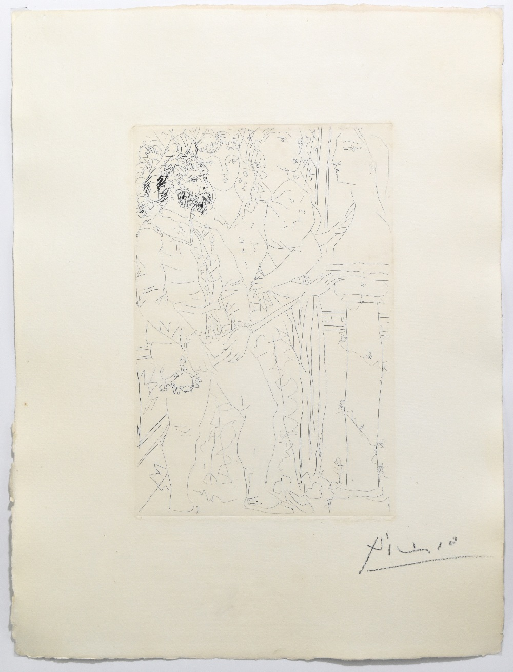 """***WITHDRAWN*** PABLO PICASSO; """"Trois Acteurs"""", signed lower right, 45cm x 34cm, framed and glazed - Image 2 of 5"""