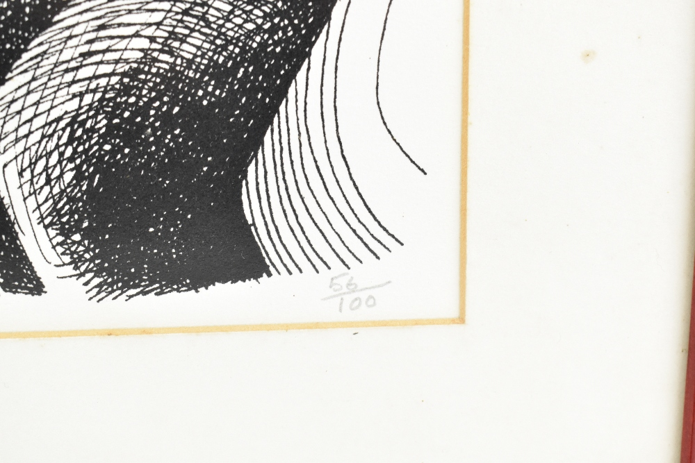GEOFFREY KEY (Born 1941); limited edition black and white print, 'Girl with Bird', 56/100 in pencil, - Image 3 of 5