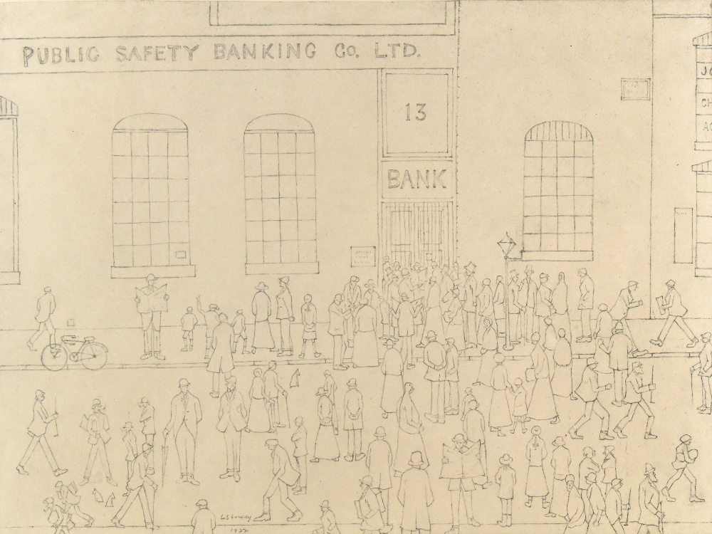 AFTER LAURENCE STEPHEN LOWRY; a limited edition print, figures queuing along a street, with A within - Image 2 of 6