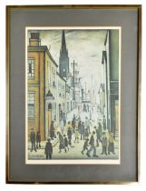 AFTER LAURENCE STEPHEN LOWRY; colour print, 'The Organ Grinder', with FATG blind stamp to the bottom