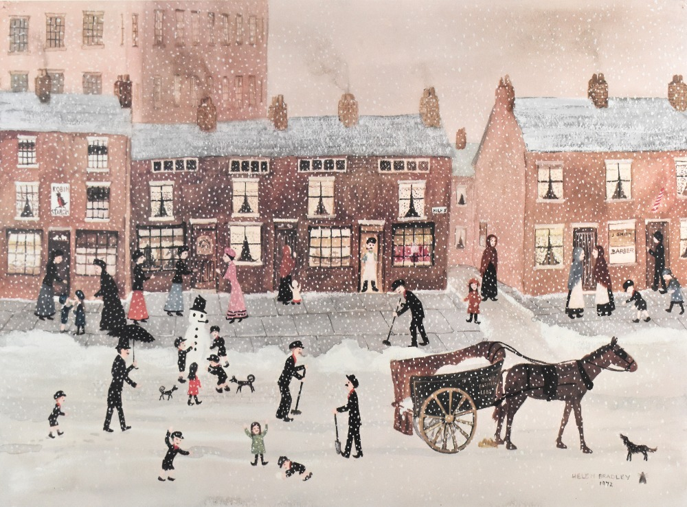 HELEN BRADLEY MBE (1900-1979); signed limited edition print, snowy scene on High Street with - Image 2 of 4
