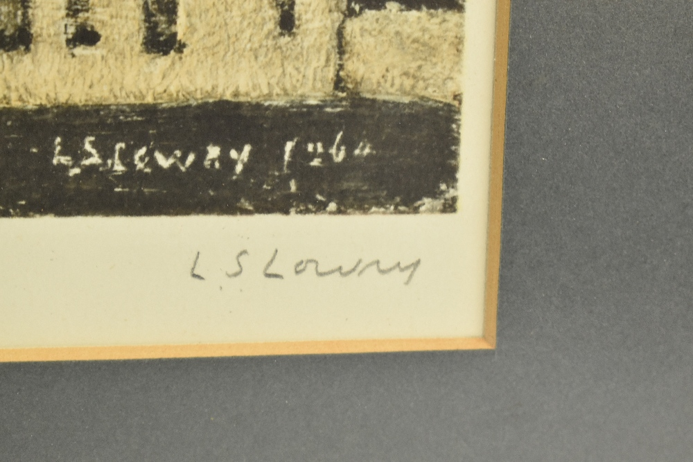 LAURENCE STEPHEN LOWRY RBA RA (1887-1976); pencil signed lithograph print, 'Station Approach', 43 - Image 3 of 5