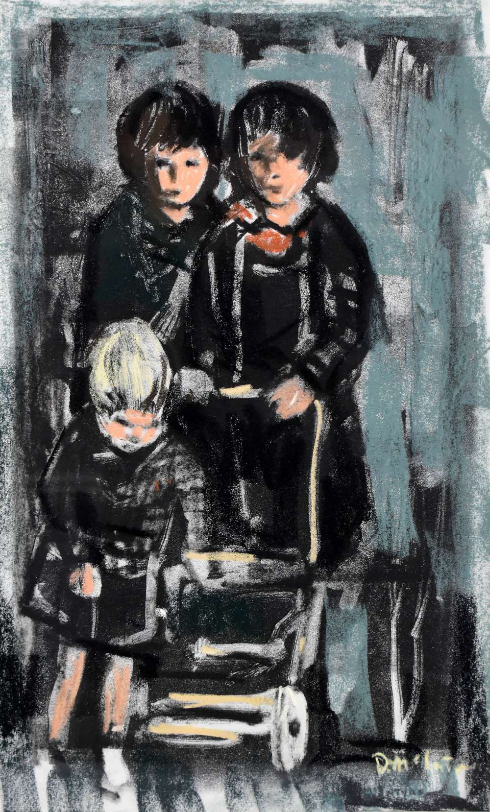 DONALD MCINTYRE (1923-2009); monoprint with pastel highlights, 'Children & Pram', bears letter - Image 2 of 5