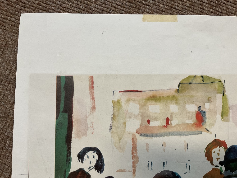 LAURENCE STEPHEN LOWRY RBA RA (1887 - 1976); signed colour print, 'People Standing About', with FATG - Image 3 of 15