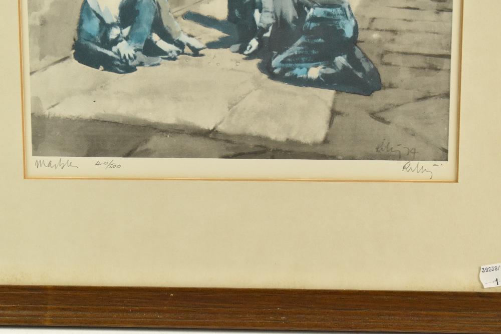 HAROLD FRANCIS RILEY DL DLitt FRCS DFA ATC (born 1934); limited edition signed print, 'Marbles', - Image 3 of 4