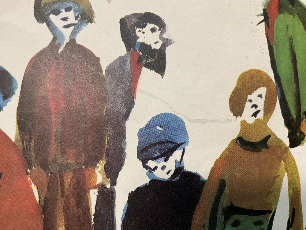 LAURENCE STEPHEN LOWRY RBA RA (1887 - 1976); signed colour print, 'People Standing About', with FATG - Image 14 of 15