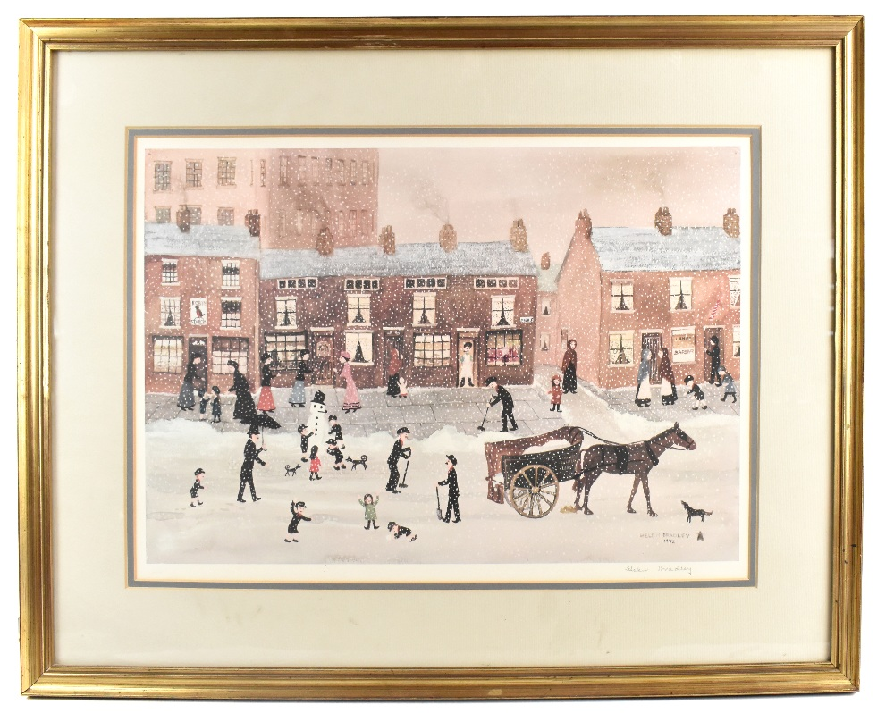 HELEN BRADLEY MBE (1900-1979); signed limited edition print, snowy scene on High Street with
