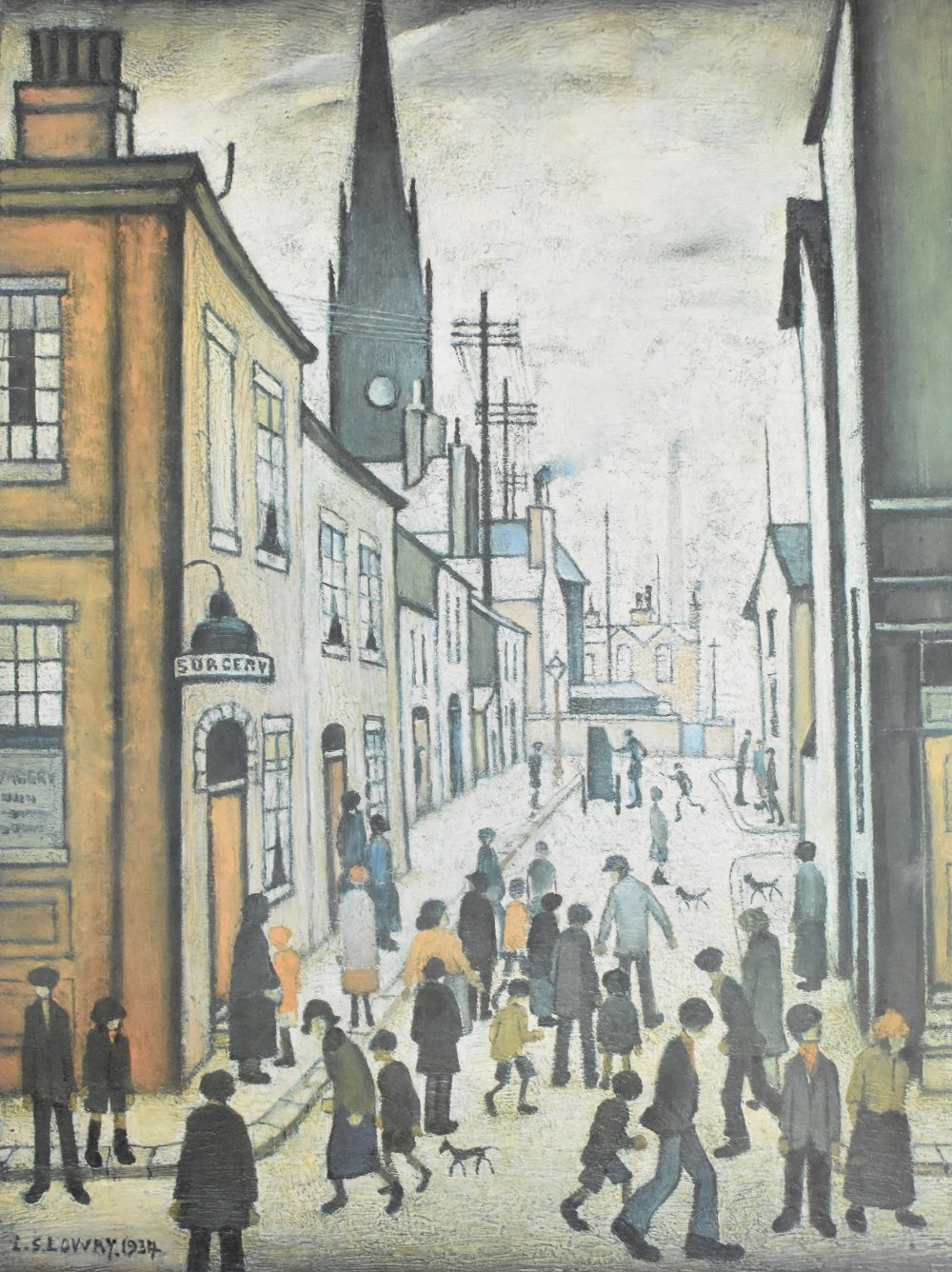 AFTER LAURENCE STEPHEN LOWRY; colour print, 'The Organ Grinder', with FATG blind stamp to the bottom - Image 2 of 3