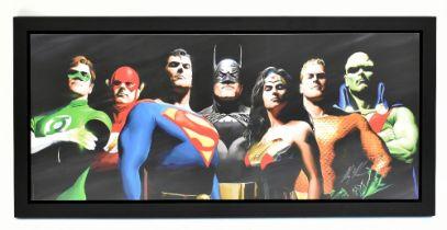 ALEX ROSS; signed limited edition print, 'Original Seven', DC Comic, 40/49, 66 x 153cm, framed.