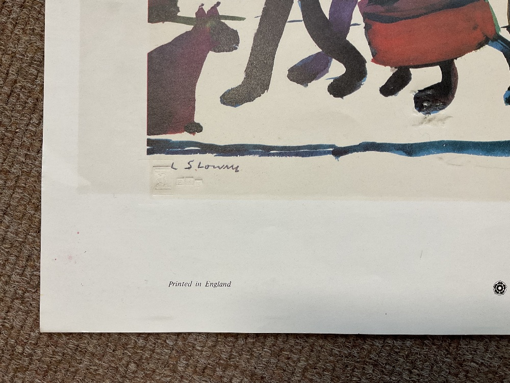 LAURENCE STEPHEN LOWRY RBA RA (1887 - 1976); signed colour print, 'People Standing About', with FATG - Image 8 of 15