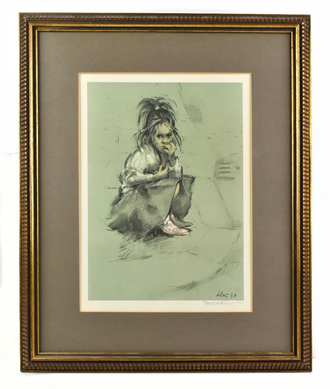 HAROLD FRANCIS RILEY DL DLitt FRCS DFA ATC (born 1934); limited edition print, 'Girl in Mother's