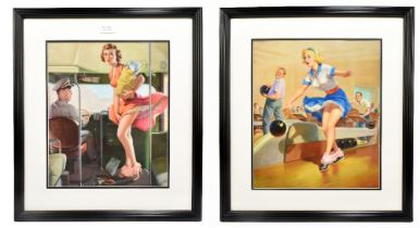 AFTER ART FRAHN; two original US 1950s pin-up lithographs, 'Spare?' and 'A Fare Loser', each