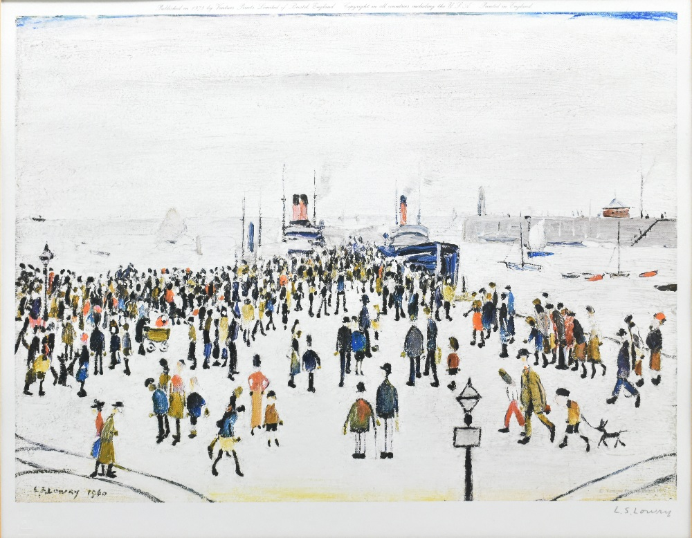 LAURENCE STEPHEN LOWRY RBA RA (1887-1976); signed coloured limited edition print, 'Ferryboats', - Image 2 of 5