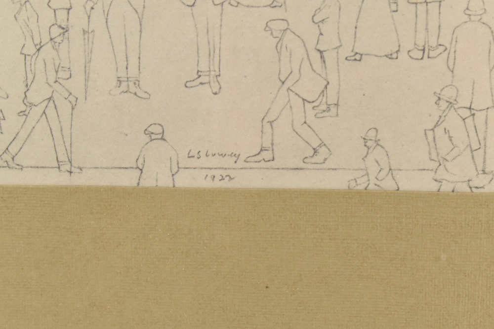 AFTER LAURENCE STEPHEN LOWRY; a limited edition print, figures queuing along a street, with A within - Image 3 of 6