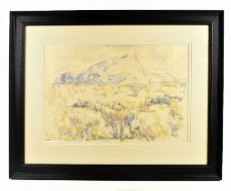 AFTER PAUL CEZANNE; colour print, Montagne Sainte Victoire, with blind stamp lower right, 35.5 x