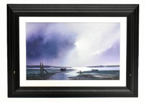 BARRY HILTON (born 1941); signed limited edition print, 'Violet Dawn', 3/195, 41.5 x 64cm,