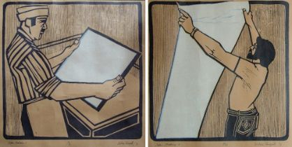WILLIE RODGER RSA (1930-2018); pair of limited edition wood cuts, 'Paper Making I' & 'Paper Making