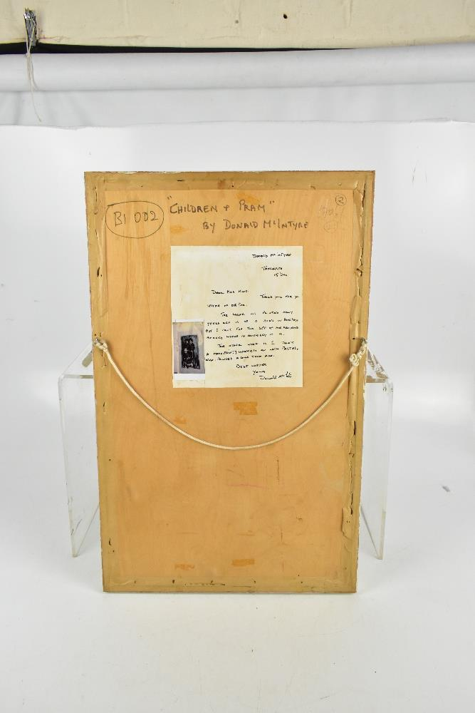 DONALD MCINTYRE (1923-2009); monoprint with pastel highlights, 'Children & Pram', bears letter - Image 4 of 5