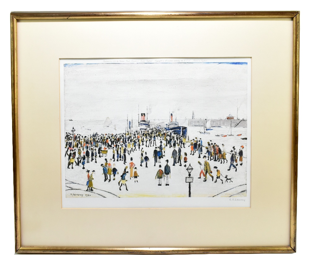 LAURENCE STEPHEN LOWRY RBA RA (1887-1976); signed coloured limited edition print, 'Ferryboats',